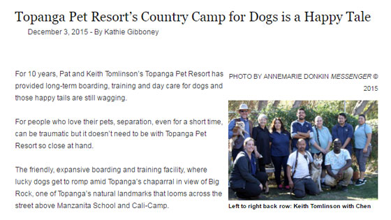 Topanga Messenger: Topanga Pet Resort's Country Camp for Dogs is a Happy Tale